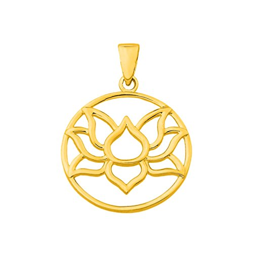 14K Yellow Gold Round Lotus Charm Padma Flower Pendant