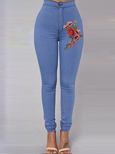 Skinny Donna Zip Aderenti A Vita Floreale Con Blu Jeans Da Alta Oudan Ricamo Pantaloni Awq4ZCa