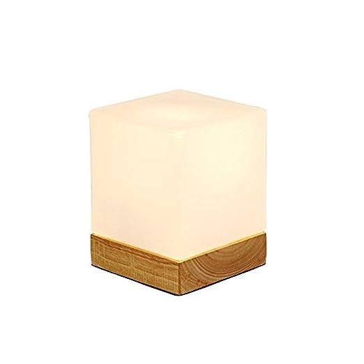 GKCDBY - Lámpara de Mesa de Madera Moderna de Cristal, Cubo ...