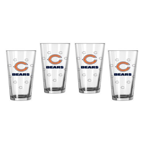 Football Satin Etch Pint Glasses product image