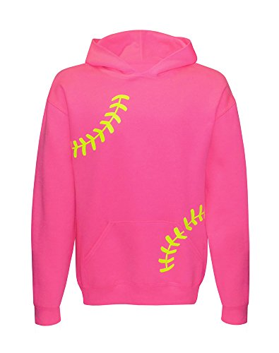 Zone Apparel Softball Girl's Youth Softball Hoodie Sweatshirt – Pink With Laces X-Large (Lace Cotton Hooded)