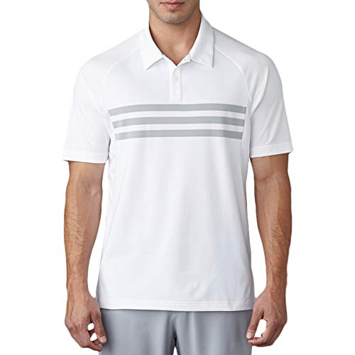 adidas Golf Men's Climacool 3 Stripe Competition Polo, White/Mid Grey/White, X-Large ()