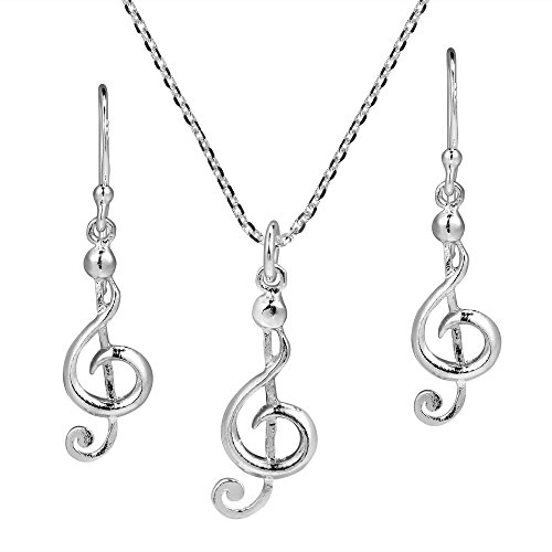 (AeraVida Musical Charm Treble Clef .925 Sterling Silver Jewelry Set)