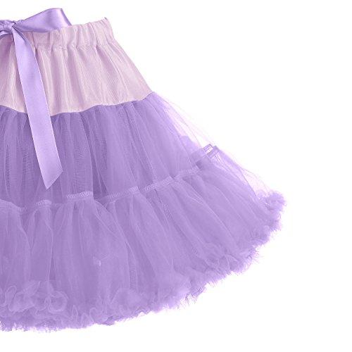 IVNIS RS90010 Women's Petticoat Tutu Skirt 2 Layered Ballet Dance Pettiskirt Mini Skirt Lavender S by IVNIS (Image #3)