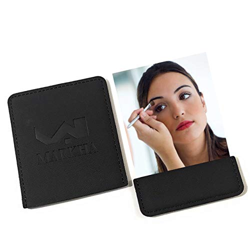 Markha Pocket Mirror for Women - Compact Small Unbreakable Portable Thin Travel Mirror for Purse Wallet (Black)