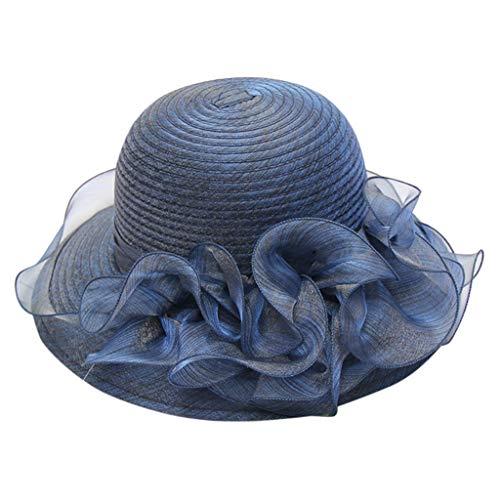 Pengy Women's Organza Church Kentucky Derby Bridal Tea Party Wedding Hat Cloche Hats Royal Navy