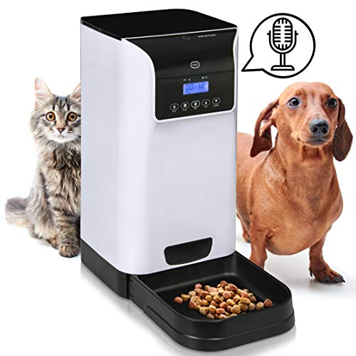 Feeder Cat and Dog Timed Dry Food Dispenser with | Large Pet Food Container and Tray | Voice Recording and Programmable Timer (Electronic Dispenser)
