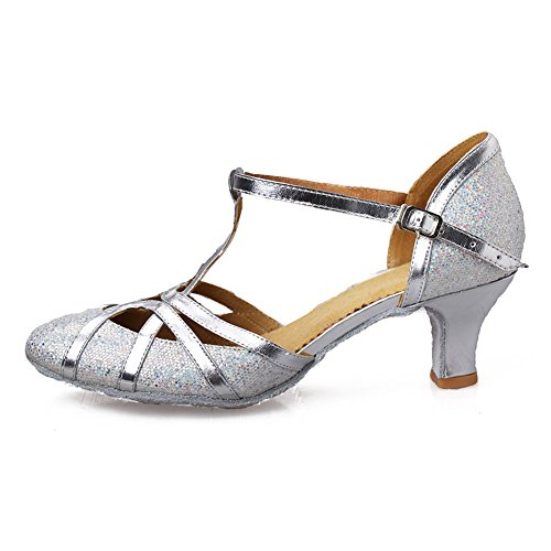 Roymall Women's Silver Fashion Ballroom Party Glitter Latin Dance Shoes Model 511-5,9 B(M) US ()