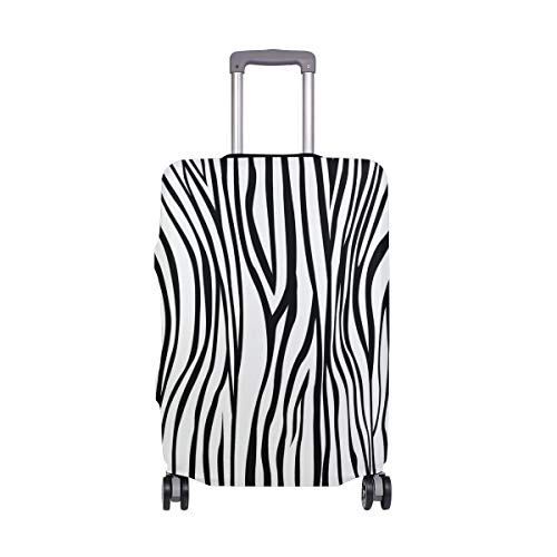White Stripes Protector Case - My Daily Black And White Zebra Stripe Luggage Cover Fits 28-29 Inch Suitcase Spandex Travel Protector L