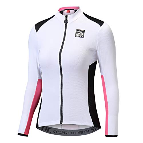 (Santic Cycling Jersey Women's Long Sleeve Tops Bike Shirts Bicycle Jacket with Pockets)