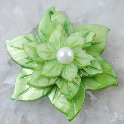 Green Mother Of Pearl Shell (LIME GREEN Mother OF PEARL SHELL FLOWER GIFT PENDANT with FREE NECKLACE [1 piece])