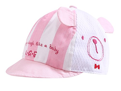 Little Girl Infant Baseball Cap with Little Bear Pattern Baby Mesh Quick Dry Sun Hat with Ear Holiday Cute Hollow Visor, Pink Hat Circumference: 46cm/18.11
