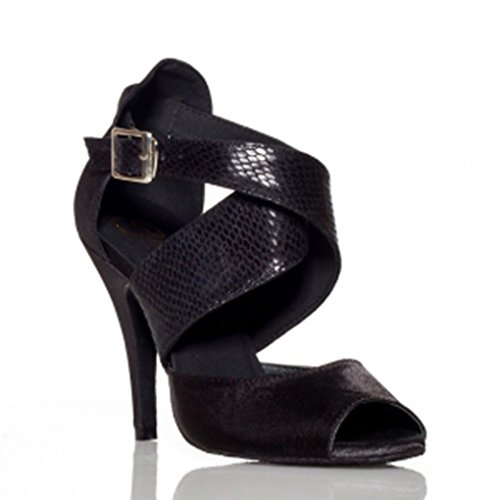 Shoes Minitoo Stage Ankle Women's Wrap Dance Satin Latin Black OxwUzqSPx