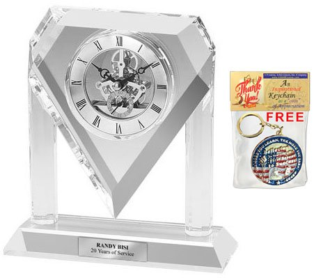 (Personalized Silver Da Vinci Arch Diamond Crystal Clock Engraving Plate. This Engraved Crystal Desk Clock Retirement Wedding Anniversary Gift or Employee Corporate Appreciation Recognition Award)