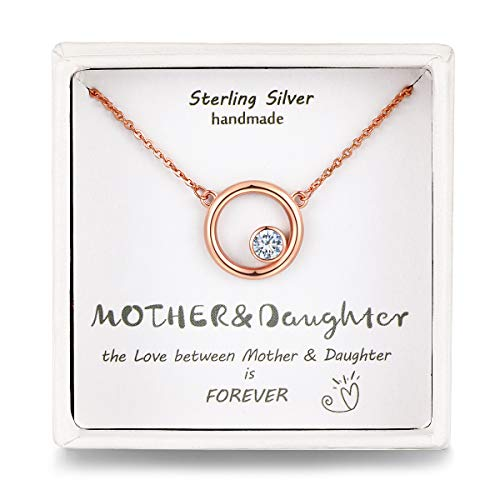Presentski Sterling Silver Necklace 18K Rose Gold Round Circle Birthstone for Mom Daughter Generation Pendant Necklace Birthday Gift