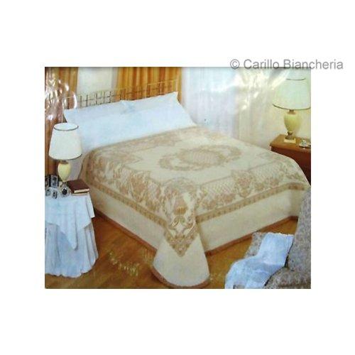 bianco//beige B907 Coperta matrimoniale pura lana vergine Rossella