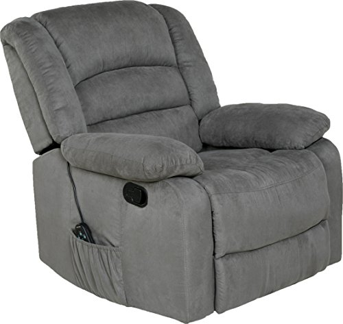 Relaxzen Massage Rocker Recliner with Heat and USB, Gray - Heavy Duty Vinyl Message