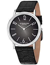 Stuhrling Original Men's 140A.01 Classic Cuvette Contra Swiss Quartz Ultra Slim Stainless Steel Black Leather Strap Watch