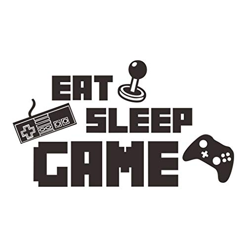 Toile Wall Letters - Eat Sleep Play Words Wall Decals, Removable DIY Art Decor Wall Stickers Murals for Living Room TV Background Kids Girls Rooms Bedroom Decoration (Black, 40x70cm(Approx.))