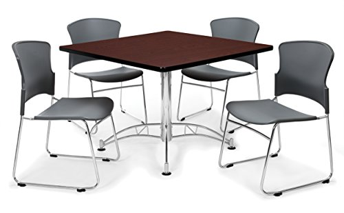 OFM PKG-BRK-09-0009 Breakroom Package, Mahogany Table/Gray Chair by OFM