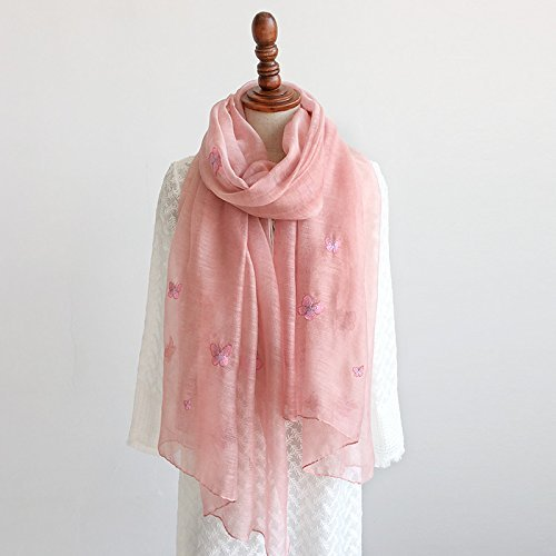 Light pink SED ScarfFemale Age Embroidered Silk Scarf Scarf Silk Scarf Shawl AllMatch Imitation Cashmere Scarf Female Autumn and Winter Korean Students Knitted Shawl Long