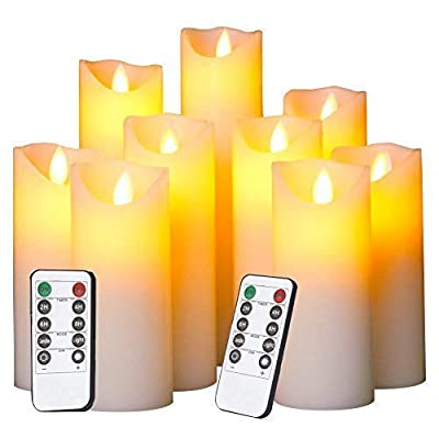 Flameless Candles Battery Operated Candles Flickering Light Pillar Real Smooth Wax with Timer and 10-Key Remote for Wedding Set of 9