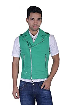 Dsquared2 Men's Green Distressed Look Full Zip Three Pockets Vest US L IT 52