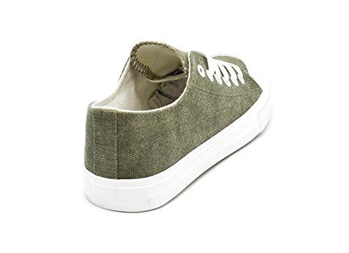 Oh My Shop SHY47 * Baskets Tennis Sneakers Toile Uni Kaki avec Bout Avant et Semelle Blanche