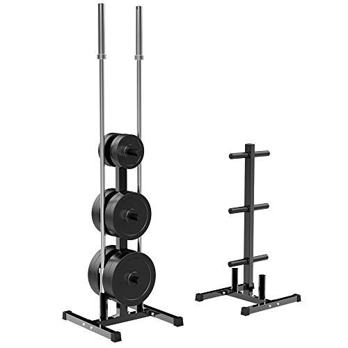 Yaheetech 2 inch Barbell Plate and Dumbbell Racks Tree Olympic Plate Rack Weight Bumper Plate Holder w 2 Bar Holder Holds