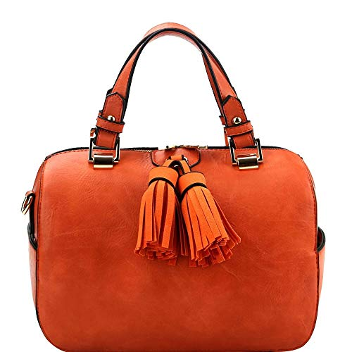 (Double Tassel Accent 2-Way Boston PU Leather Satchel Purse)