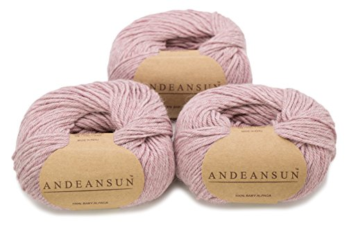(100% Baby Alpaca Yarn (Weight #3) DK - Set of 3 - AndeanSun - Luxuriously Soft for Knitting, Crocheting - Great for Baby Garments, Scarves, Hats, and Craft Projects (Rose Light Grey))