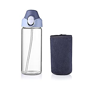 Oneisall Glass Bottle with Straw 15oz/450ML - BPA-free Borosilicate Glass Tumbler with Protective Sleeve for Kids Adult one-handed open DHTMLH359 (Grey)