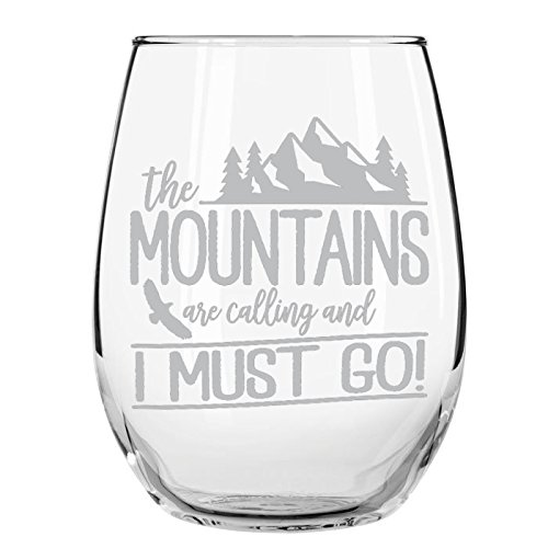 The Mountains are Calling and I Must Go Stemless Wine Glass, 15 oz, Made in USA