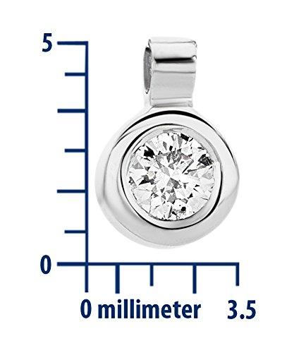 Miore Collier avec Pendentif Femme - Or blanc 375/1000 (9 carats) 0.98 gr - Diamant 0.05 cts - 45 cm