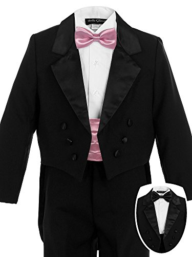 Bello Giovane Boys Black Penguin Tuxedo with Colored Cummerbund 7 Piece Set (10, Dusty Rose) - 10 Dusty Rose