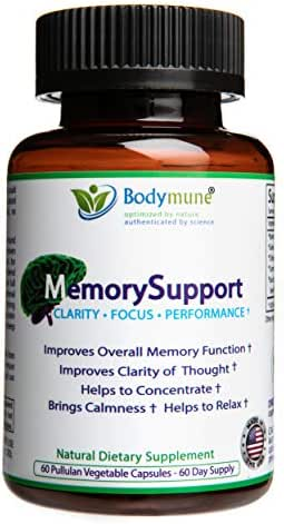 Natural Memory Support | Ginko Biloba | Ashwagandha | Brahmi | Vegan Omegas Optimal Nutrition Memory Support for Dementia Mental Exhaustion by Bodymune | 60 Day Supply | Gluten-Free Non GMO