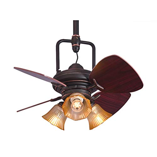 TIAN Modern Silent Fan Light 24 Inch Retro Village Wood Mini Ceiling Fans with Lights Decorate Bedroom Home Ceiling Light Fan Lamp Stable (Size : 24 inches) ()