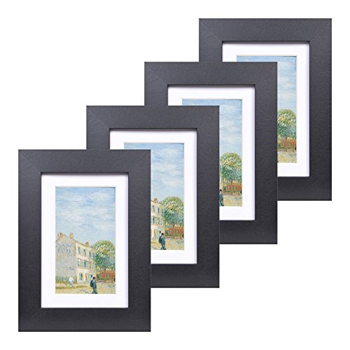 4x6 Wood Picture Frame - Flat Profile - Set of 4 - for Picture 3x5 with Mat or 4x6 without Mat (Black) Flat Wall Set