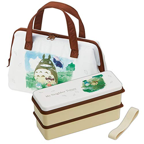 Studio Ghibli Tonari no Totoro - Japanese Bento Box Lunch Box 2 Tiers Set - Water Color (Totoro Bento & Bag Water Color)