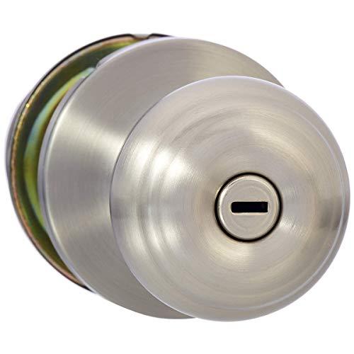 AmazonBasics Privacy Door Knob With Lock, Classic, Satin Nickel