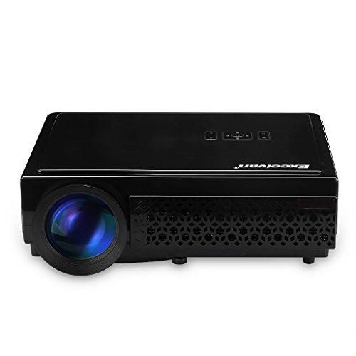 Excelvan LED 96+ - LED Projektor Beamer mit 3000 Lumen und 1080P (Heimkino für PC, Smartphone, PS4, TV Box, Xbox, Familie, kleine Konferenz, Ausbildung, KTV, Nachtclub, HDMI, VGA, USB, 20000 Stunden, 120 Zoll) (Schwarz)