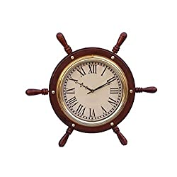 Hampton Nautical Solid Wood & Brass Ship Wheel Clock, 15