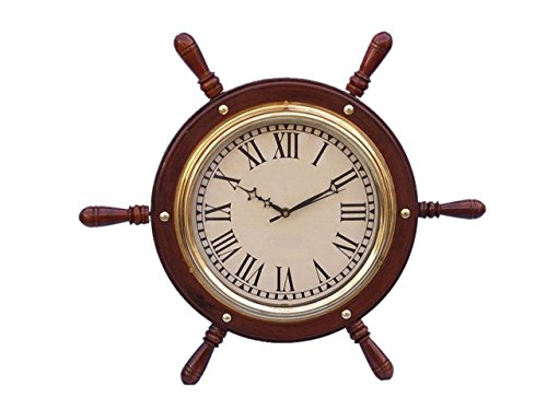 Hampton Nautical SW-1753 Solid Wood & Brass Ship Wheel Clock 15