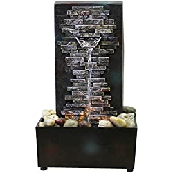 Natures Mark 10039 Slate Brick Wall LED Relaxation Water Fountain with Authentic River Rocks