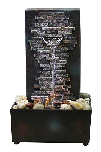 Natures Mark Slate Brick Wall LED Water Fountain