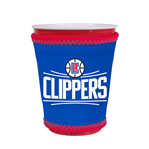 Kolder NBA Logo Coolie Kup Holder Sleeve Fitting Plastic Cups, Pint Glasses, Coffee Cups, Ice Cream, Etc. - Neoprene and Bottomless (Los Angeles Clippers)