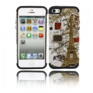 2-in-1 Eiffel Tower Pattern Silicone Protective Case with for iPhone 5/5S
