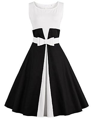 GlorySunshine Women Sleeveless Patchwork Rockabilly Retro Swing Dress