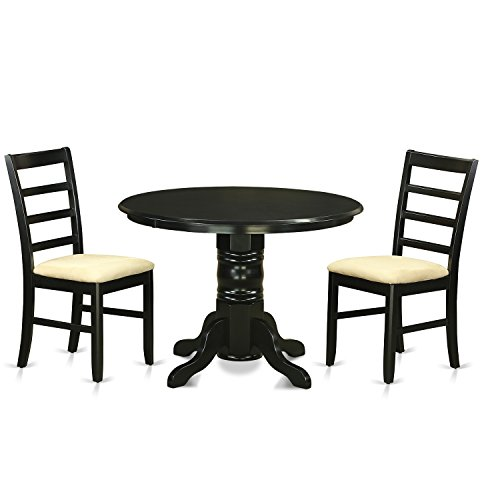 East West Furniture SHPF3-BLK-C 3 Piece Dining Table and 2 Dinette Chairs