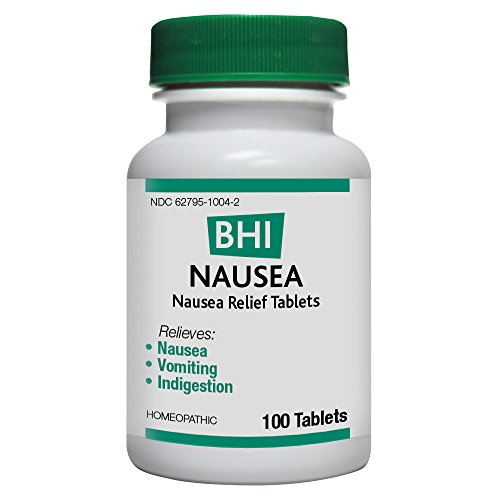 BHI Nausea Relief Tablets - Homeopathic Formula for Minor Nausea, Vomiting, Indigestion and Stomach Ache - 100 Count